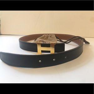 Hermes Leather Reversible Gold H Belt 65 + Buckle